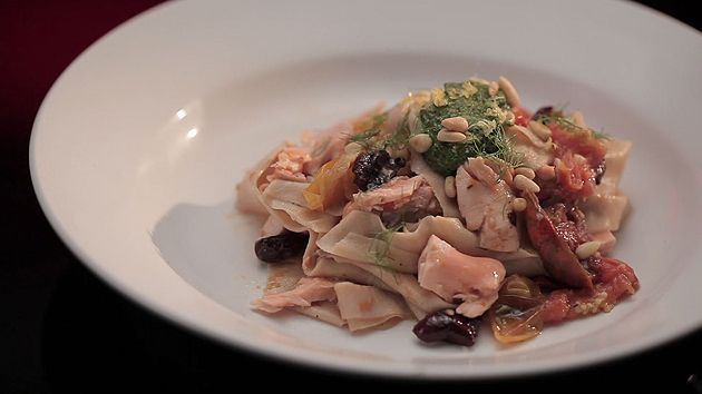 Poached Salmon with Spelt Pasta