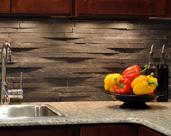 Stone Backsplash Dark Cabinets 245 best backsplashes images on pinterest | backsplash ideas