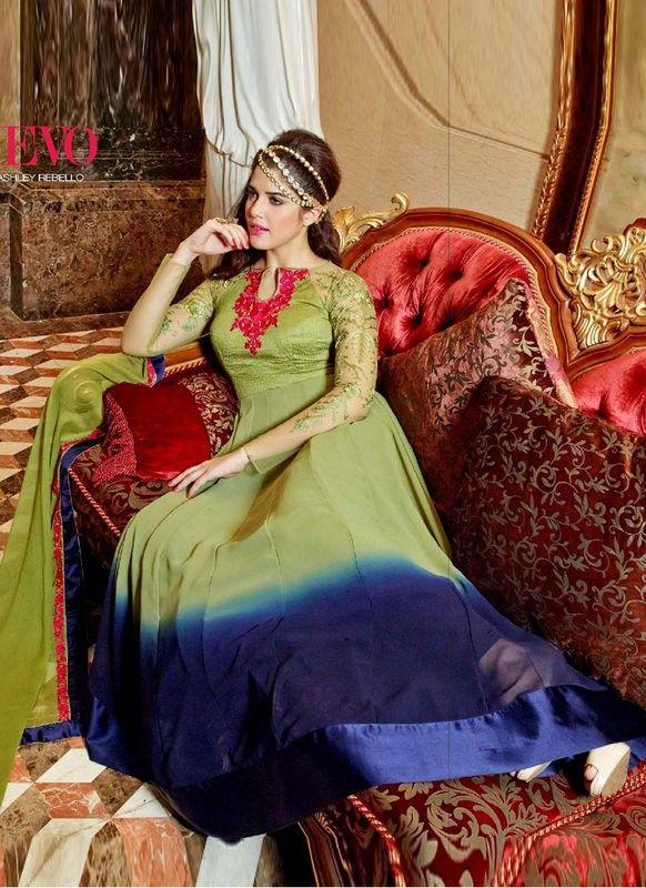 buy saree online Designer Green and Blue Colour Georgette Party Wear Suit Buy Saree online - Buy Sarees online