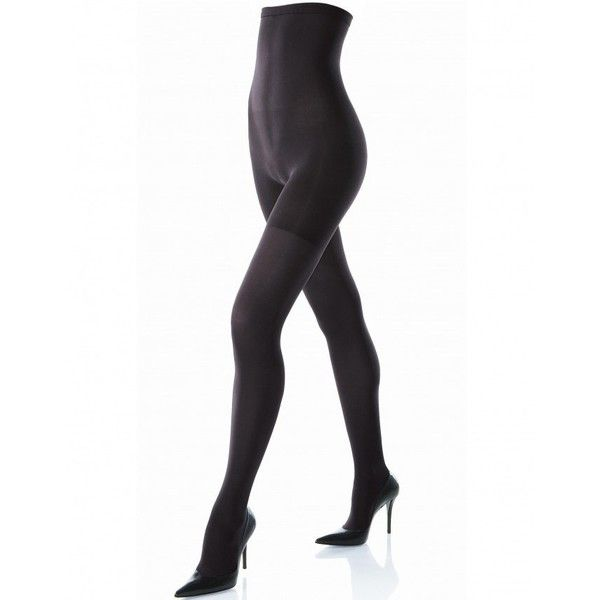 High Waisted Tight End Black Spanx Tights (6090 RSD) ❤ liked on Polyvore featuring intimates, spanx slip, nylon slip, slimming slip and spanx