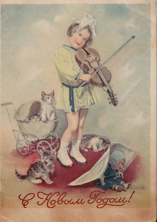 Винтажные советские картинки, поделка новый год