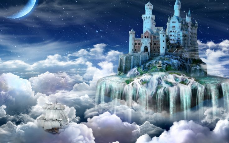 Fantasy dream art cg digital art manipulation magic clouds sky vehicles ship boat waterfall islands tower island stars moon wallpaper.
