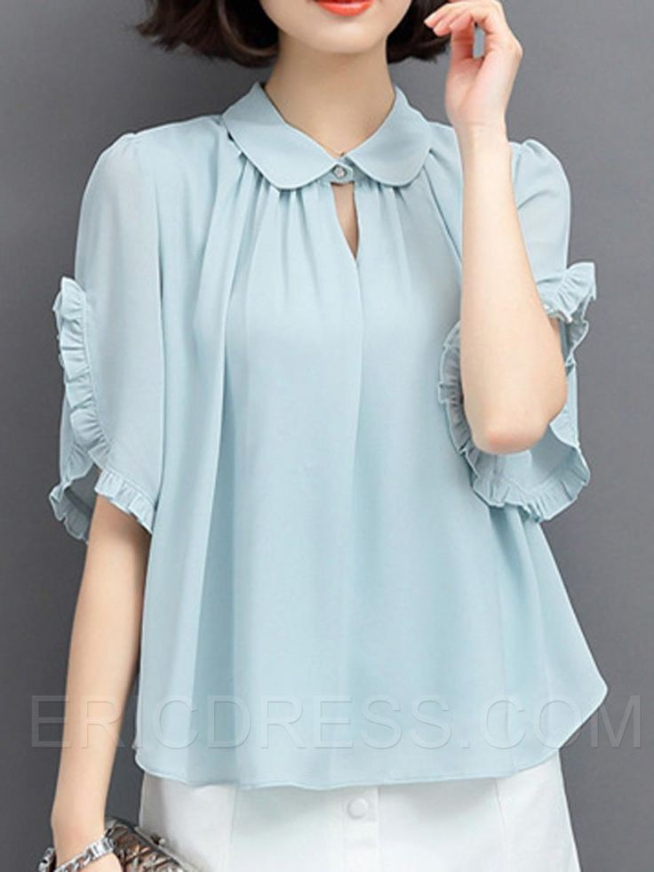 Ericdress Solid Color Loose Pleated Blouse Blouses