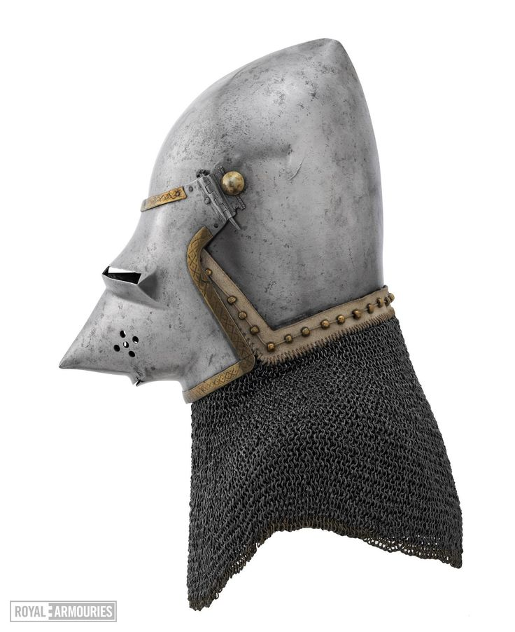 Bascinet with Aventail, Royal Armouries, Leeds ref_arm_1525 Date: 1380-1400 Material: Steel (0.6% C) Heat Treatment: Air-Cooling Weight: 7.01 Kg (Helmet), 2.97 Kg (Aventail) Iron Rings Diameter (Inner/Outer): 6.29 mm/8.00 mm Iron Rings Wire Thickness: 1.28 mm Iron Rings Wire Width: 1.24 mm Brass Rings Diameter (Inner/Outer): 6.36 mm/7.57 mm Brass Rings Wire Diameter: 1.16 mm