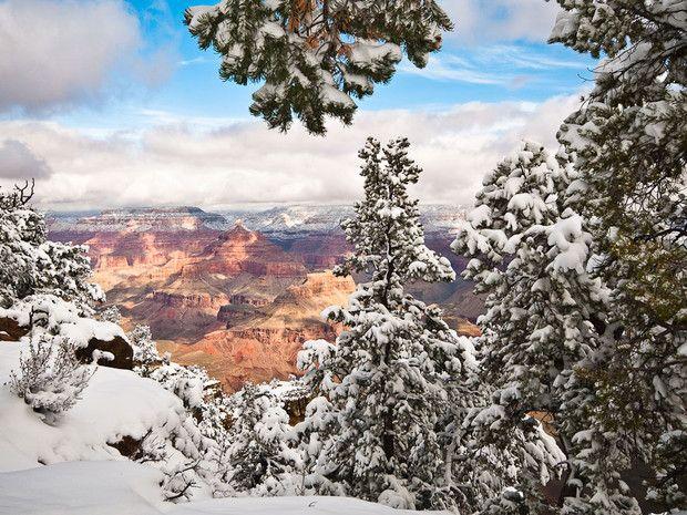 Ambiance hivernale au parc national du Grand Canyon, Arizona, Etats-Unis