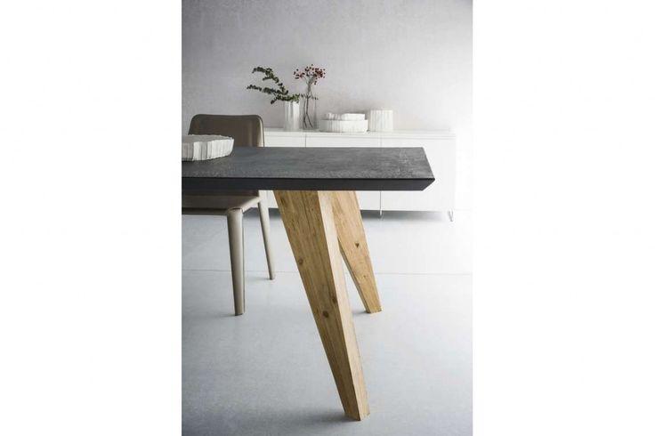 Tavolo Raw - legno e resina di cemento - SEDIT