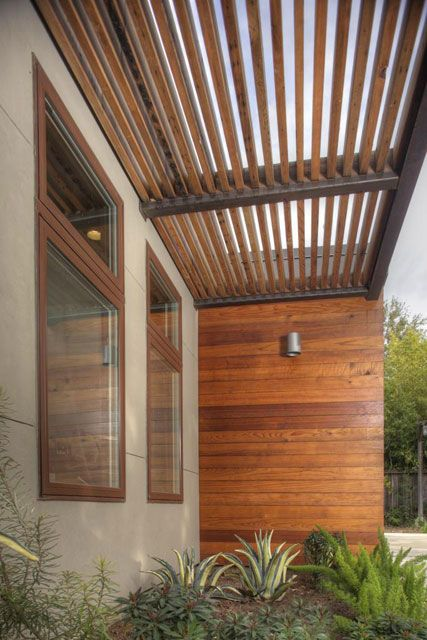 Steel I Beam And Reclaimed Redwood Trellis Allow Light Near Entry While  Continuing Strong Exterior