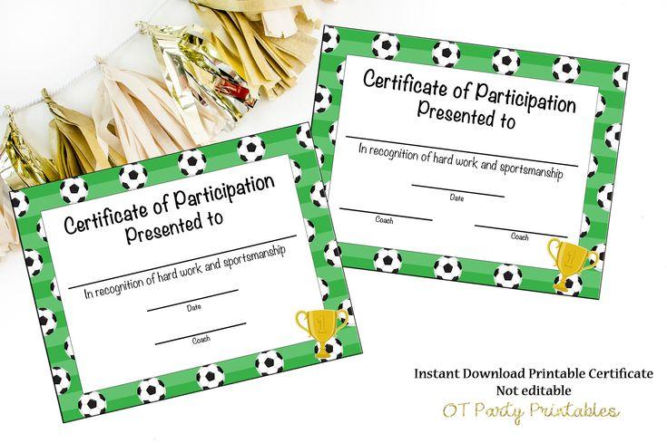 soccer certificate participation award achievement printable certificates awards mvp instant templates