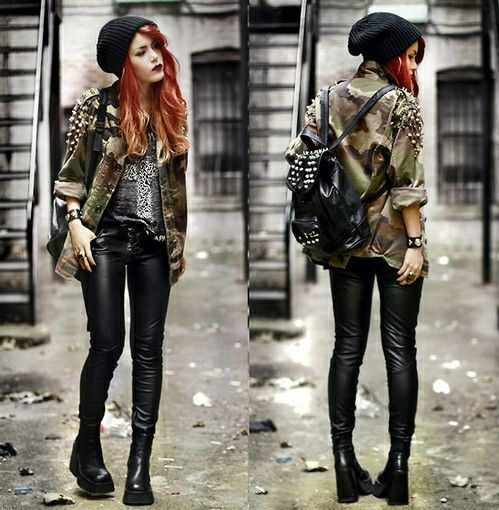 grunge with army jacket dark and rock