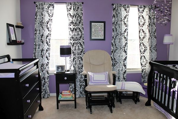 my final nursery reveal: lavender, black, and white newlywedecorate