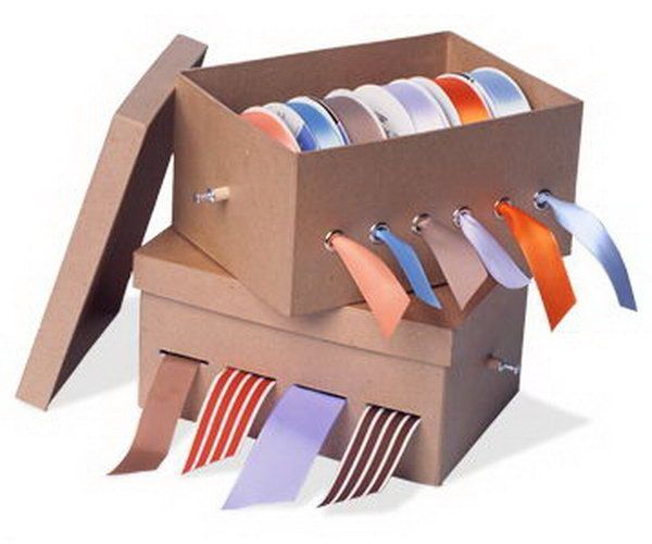 Make the ribbons untangled and ready to use with this easily made shoe box organizer. http://hative.com/diy-ideas-with-recycled-shoe-box/