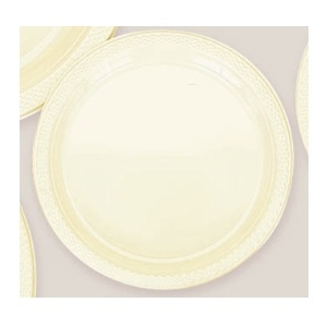 "Plastic Vanilla Creme Dessert Plates. There are 20 Solid Colour Plastic 7"" Dessert plates per package. They come in 22 colours and are a great party accessory where you want to match a colour and you also want a plate that is stronger than paper."