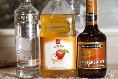 SPIKED APPLE CIDER: combine 6oz warm apple cider, 1oz vanilla vodka and 1oz butterscotch schnapps into glass and serve.