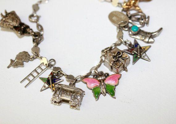 Vintage Sterling Charm Bracelet 16 Charms by nanascottagehouse, $95.00