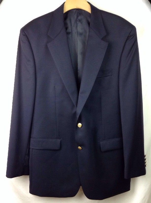 6cb819655 Chaps Blazer 42L Modern 2 Button Gold Metal Buttons Sport Coat Jacket Navy  Blue | Clothing, Shoes & Accessories, Men's Clothing, Blazers & Sport Coats  ...