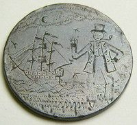 """A convict love token made from an engraved copper penny sized blank coin. Engraved on the obverse is a sailor standing in front of a sailing ship, with a pipe in his mouth. The reverse reads """"Samuel / Smith aged / 34, 7, Ys, 1839 / Remember me / when far away"""". A peacock as been engraved in a stipple design at the bottom of the reverse side."""