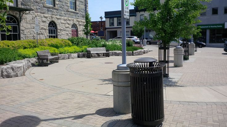 SD-42 Litter Receptacle, S-13 bench, s-6 tree guard, City Hall Cambridge Ontario