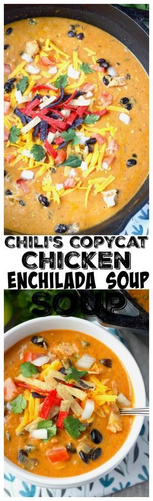 This Chilis Copycat Chicken Enchilada Soup Recipe is Loaded with chicken, green chilis, beans and lots of cheese. Topped with all your favorites.