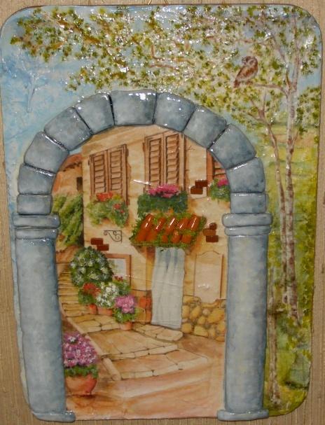 Pannello di legno decorato con decoupage in rilievo - Tegole decorate in rilievo ...