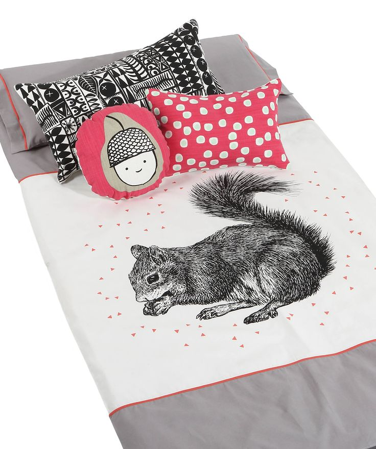 """Clever Squirrel"" babe-toddler bedding Pillowcase + Duvet + Fitted Sheet (optional) Fitted sheet fits a large cot http://bunnyandclyde.co.za/bedding-sets.html"