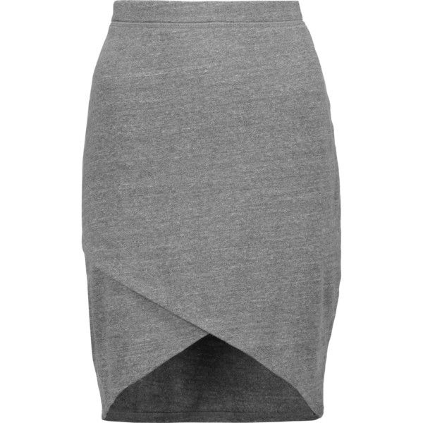Splendid Wrap-effect stretch-jersey skirt ($67) ❤ liked on Polyvore featuring skirts, grey, knee length skirts, grey knee length skirt, pull on skirts, elastic waist skirt and stretch jersey
