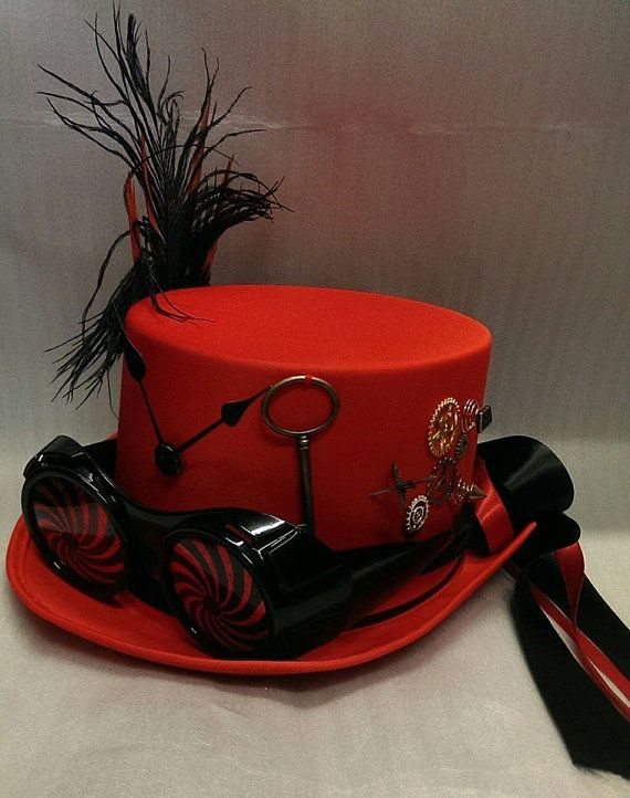 Steampunk Bespoke Red Top Hat With Spiral Glasses Victorian Gothic Mad Hatter Halloween Festivals by Mad4Hats - Steampunk Steampunk Clothing - Smoked Glass Goggles