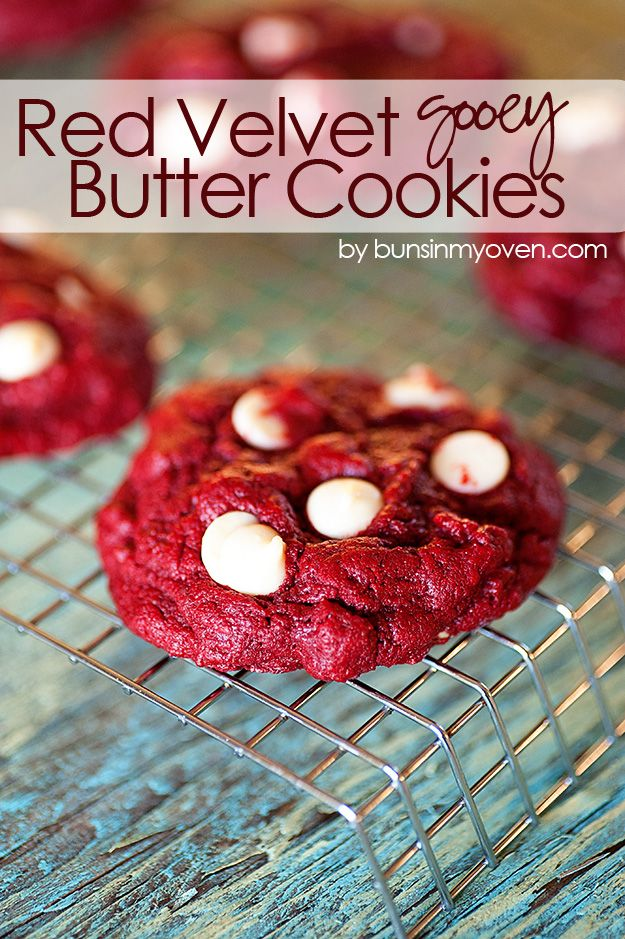 Red Velvet Gooey Butter Cookies #recipe | Perfect sweet treat for Valentine's Day and it starts from a box of cake mix!