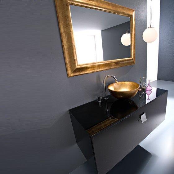 Chimento Design | Waschtischmöbel-Komposition Dubai K3.1 | 120x51x49 | schwarz glänzend mit gold