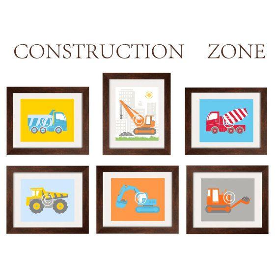 Construction decor nursery wall art toddler boy prints for for Decor zone bedroom
