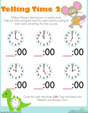 Telling Time with Melissa Mouse 2 Free kindergarten