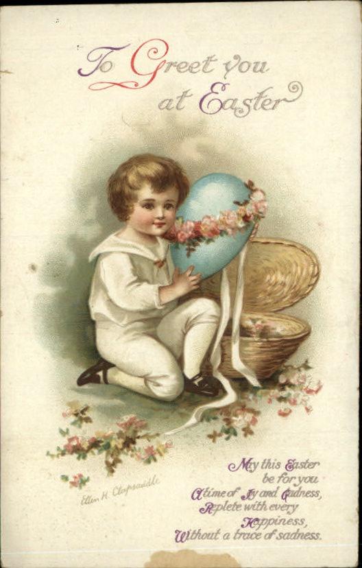 CLAPSADDLE EASTER Little Boy w Easter Egg c1910 Postcard - bidStart (item 30103225 in Postcards... Easter)