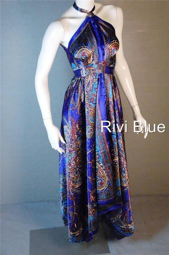 Scarf Dress Silk Multi Wear Maternity Party Dress Maxi Boho Royal Blue #RiviBlue #Maxi #Casual $36.85