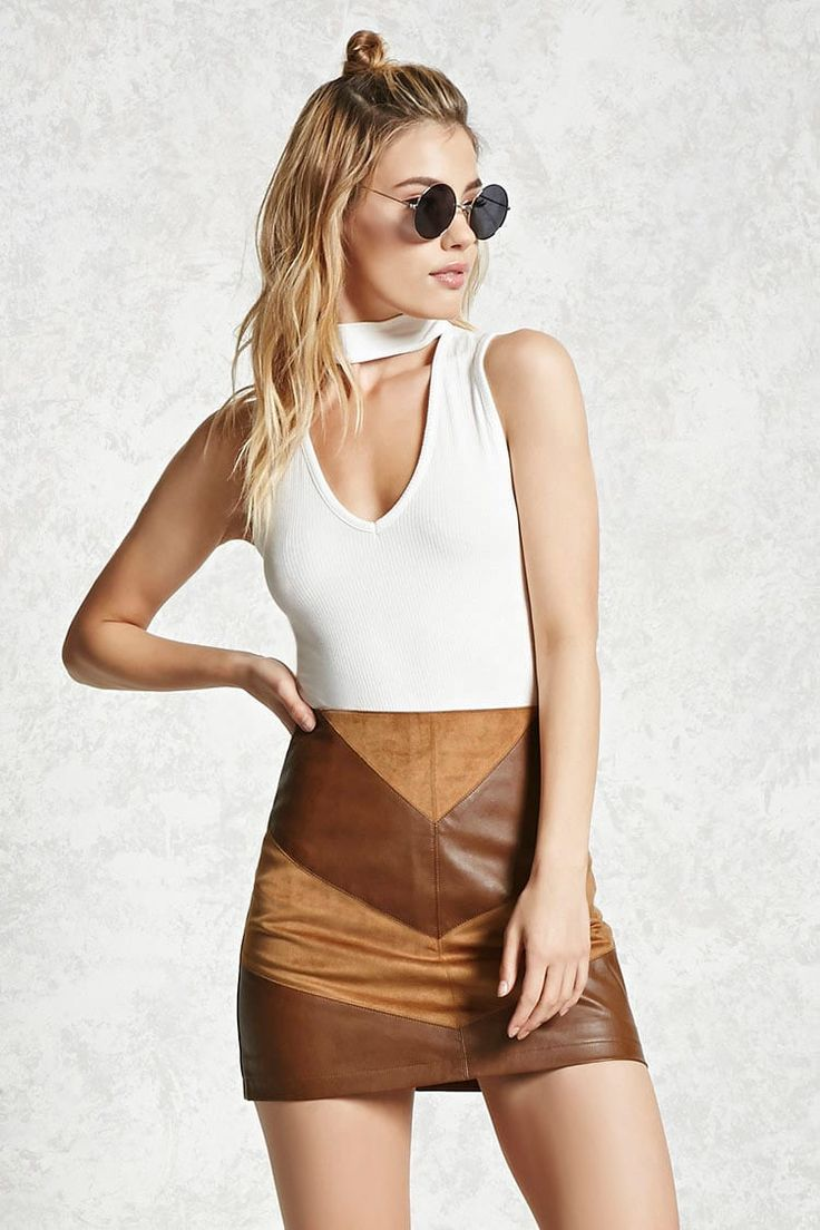 Faux Suede Panel Mini Skirt