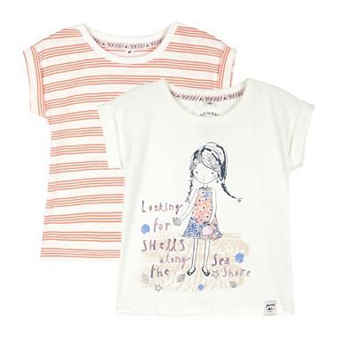 Pack of two girl's white striped and beach girl printed t-shirts