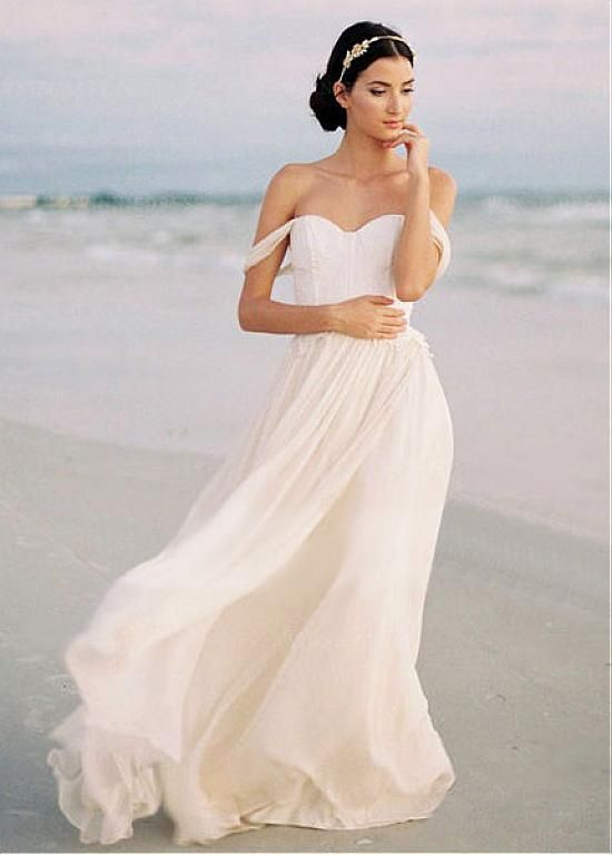 [125.99]  Seductive Tulle & Chiffon Off-the-shoulder A-line Wedding Dress with Lace Appliques