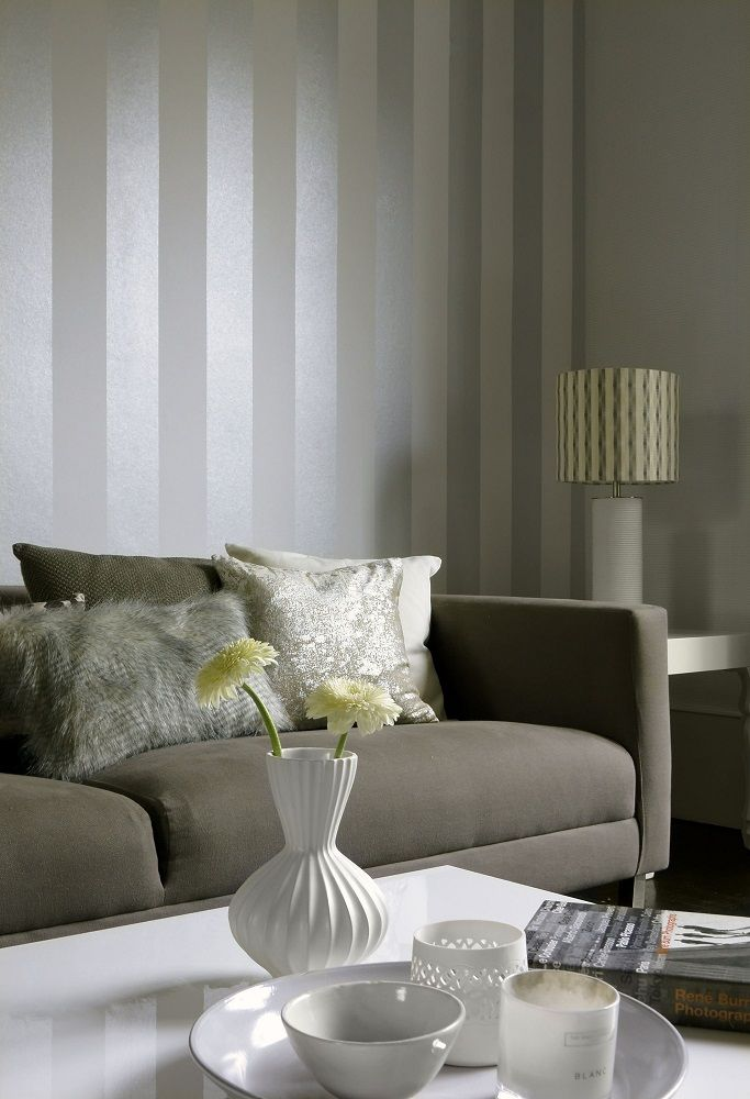 Lovely #metallic stripe wallpaper from the Albany Performance collection.