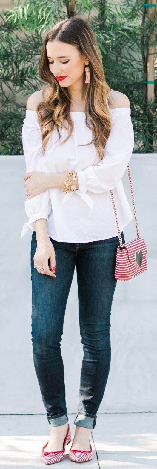 White Off Shoulder Blouse / Dark Skinny Jeans / Red Studded Loafers... - Street Fashion