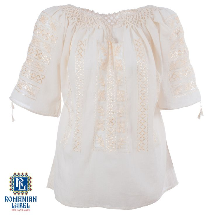 $130.83 A 100% hand made traditional blouse, exclusively tailored out of natural materials, such as ivory cotton and gold silk embroidery.