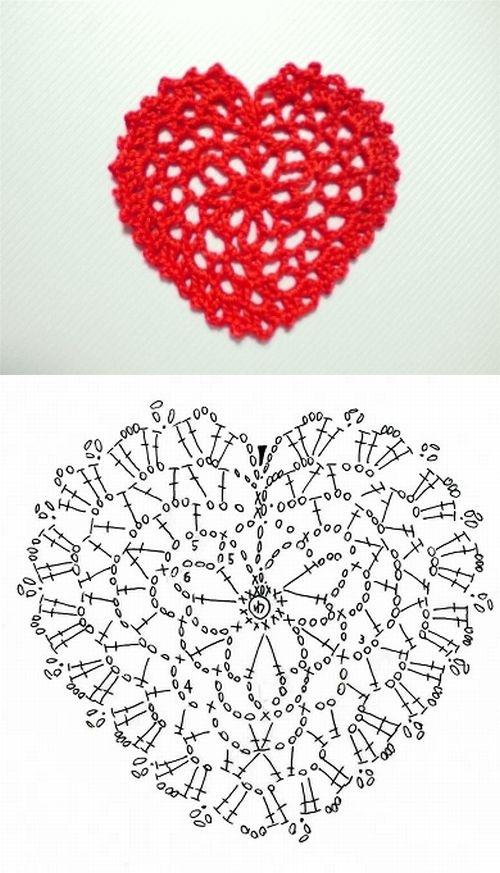 Lace heart pattern diagram  . . . .   ღTrish W ~ http://www.pinterest.com/trishw/  . . . .  #crochet #motif