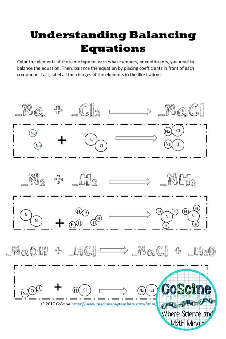 Balancing Chemical Equations Worksheet   Chemistry worksheets [ 1102 x 735 Pixel ]