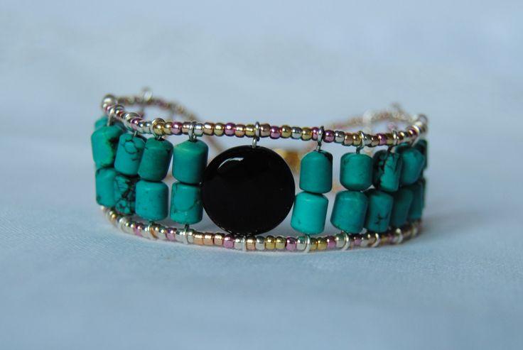 braccialetto, perle di vetro, turchese, onice,pietre dure,made in Italy di ImonilidiLR su Etsy