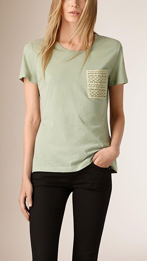Verde maçã Camiseta de algodão com bolso de renda - Imagem 1