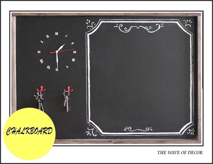 The large chalkboard with clock.  Большая грифельная доска. современный декор для дома