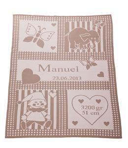Babydecken - personalisierte Babydecke mit Namen in beige - ein Designerstück von babydecke-Hauck bei DaWanda