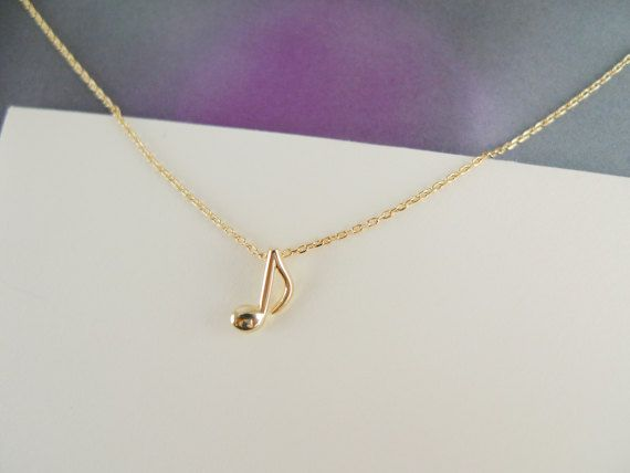 music note necklace in gold