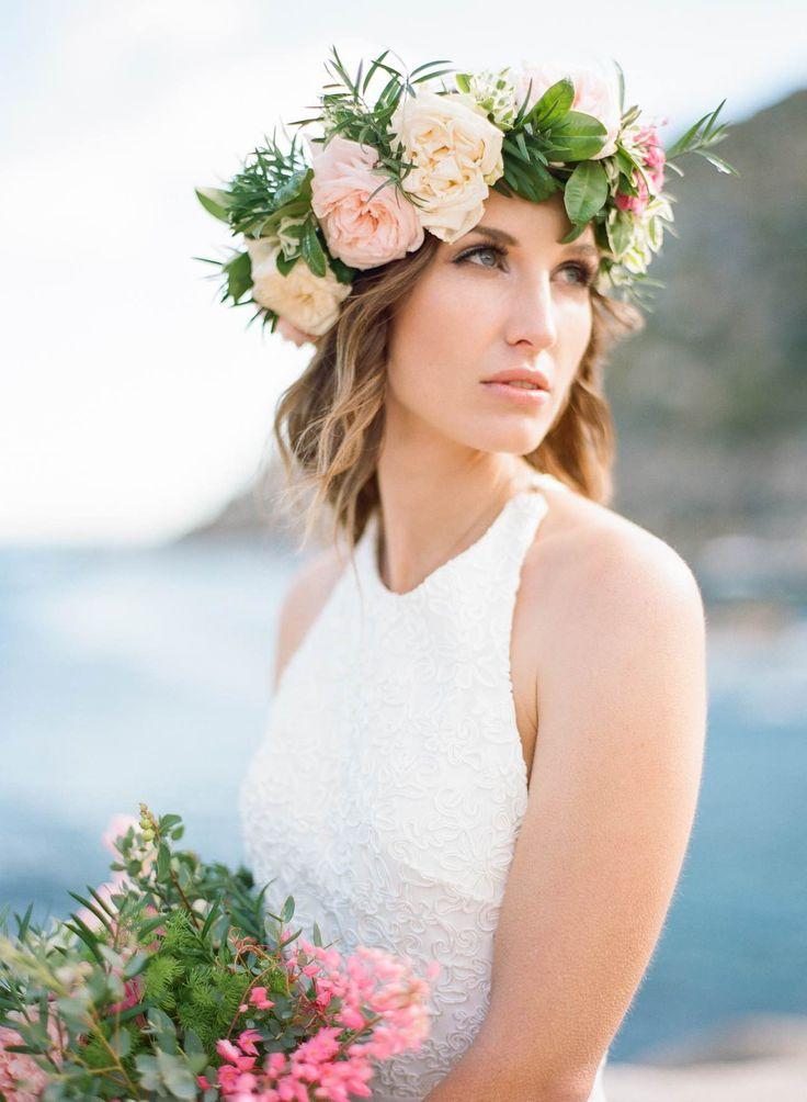 Romantic Cape Town Beach Bride flower crown - Emily Katharine Photography