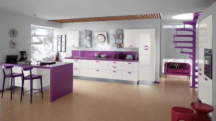 Kitchen:Purple And White Modern Kitchen Design With Kitchen Stove Also Faucets And The Sink Also Dining Table With Dining Chairs Also Chandelieralso Also Wall Clock And Gray Wall With Wooden Floor Also Stairway In The Corner Charming & Modern Kitchens for Extensive and Small Areas
