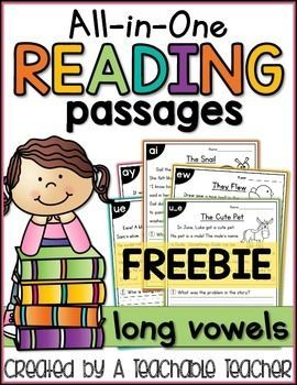 """This is a FREE sample of """"ALL-IN-ONE READING PASSAGES - LONG VOWELS."""" This no prep long vowel reading passages is the perfect addition to any primary classroom. It can be used for skill practice, reading comprehension, fluency, cold reads, assessment, hom"""