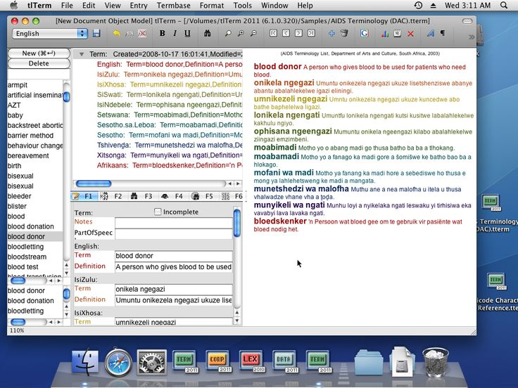 #tlTerm #Terminology #software on Mac OS X #Screenshot #TshwaneDJe