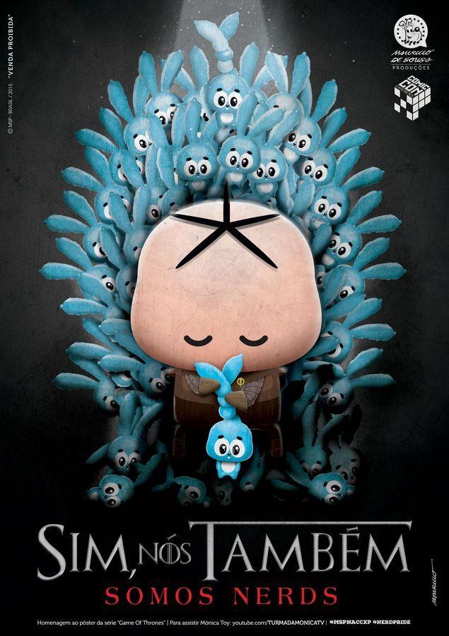 Campanha 'Sim, Nós Também Somos Nerds', da Turma da Mônica, mistura Cebolinha e 'Game of Thrones